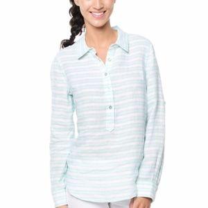 Vineyard Vines 2 Striped Popover Tunic Shirt Linen